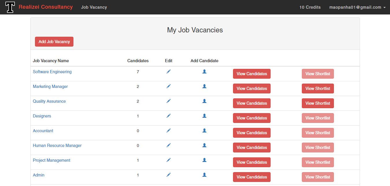 Vacancy page